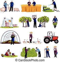 Farmers Gardeners Flat Icons Collection - Farmers and ...