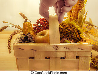 Farmers hand holding a basket with seasonal products