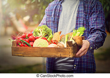 Farmers hands holding wooden box with different fruits and vegetables