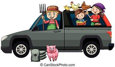 Farmers in gray truck