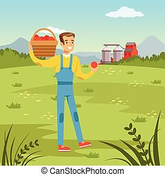 Farmers man holding basket with fresh harvest of red apples, agriculture and farming, rural landscape vector Illustration