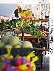 Farmers Market Booth Closeup. California Farmers Market....