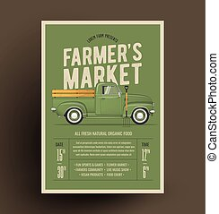 Old Style Farmer's Pickup Truck. Vector Illustration.