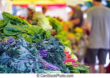 Fresh organic produce at the local farmers market.