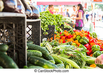 Local produce at the summer farmers market in the city.