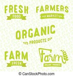 Farmer's market logos templates vector objects set.