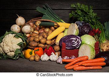 A selection of autumn seasonal organic vegetables on display.