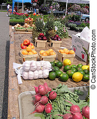 Farmers Market - Outdoor farm market produce, aisle on right...