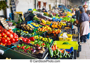 Farmers market. Porto, Portugal - Stalls with fresh...