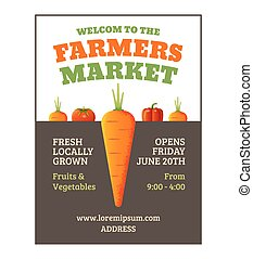 Farmers market poster template with vegetables. Vector ...