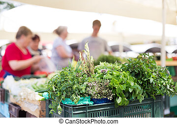Farmers' market stall. - Farmers' food market stall with...