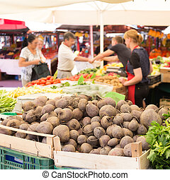 Farmers' market stall. - Farmers' market stall with variety ...