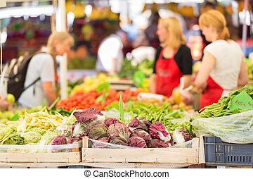 Farmers' market stall. - Farmers' market stall with variety...