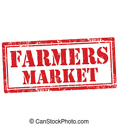 Farmers Market-stamp - Grunge rubber stamp with text Farmers...