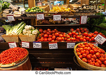 Variety of fruits and vegetables at a local farmer's market.