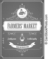 Farmers Market Vintage Advertisement Vector Poster. Contains Advertisement Text, Image of Farm Constructions, Farmer with Harvest and Ribbons.