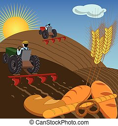 Farmers on tractors plowing the land