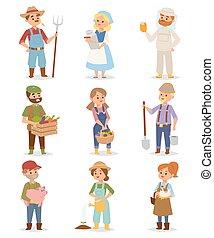 Farmers people vector set.