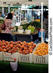 farmers\\\', persikor, marknaden