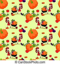 Farmers Pumpkin Fresh Vegetables Farming Seamless Pattern