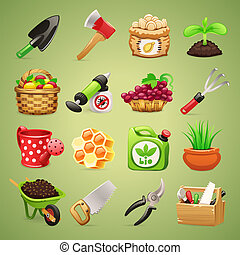 Farmers Tools Icons Set1.1. In the EPS file, each element is...