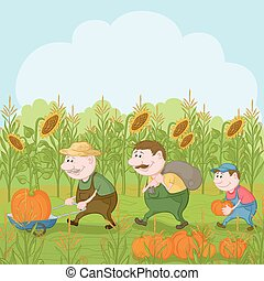 Farmers with the harvest of pumpkins - Cartoon farmers:...