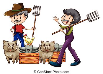 Farmers with their animals