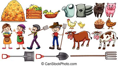 Farmers with their tools and animals