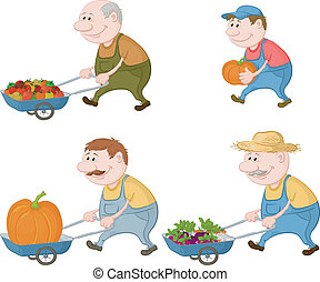 Farmers with vegetables and pumpkins - Set cartoon character...