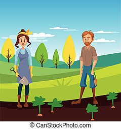 Farmers working in the field, gardeners harvesting crop, agriculture farming concept vector Illustration