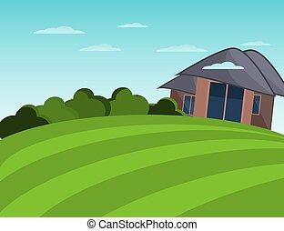Farmhouse and field. Peaceful landscape. Flat illustration.