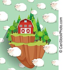 Farmhouse and sheep flying in the sky