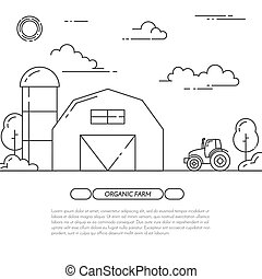 Farmhouse banner for agricultural products advertise Flat line art vector