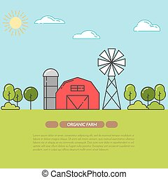 Farmhouse banner for agricultural products advertise Flat linear vector