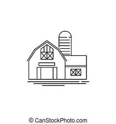 Farmhouse barn line icon. Outline illustration of horse barn vector linear design isolated on white background. Farm logo template, element for farming design, line icon object.