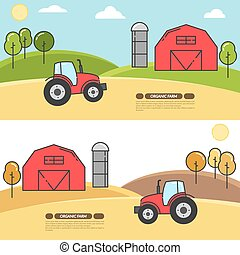 Farmhouse horizontal banner for agricultural products advertise Flat linear vector