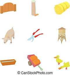 Farmhouse icons set, cartoon style