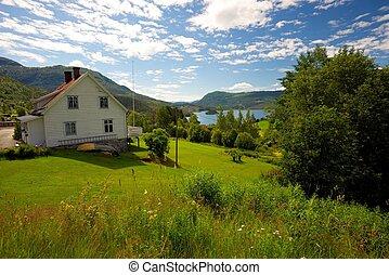 Farmhouse in scandinavian landscape