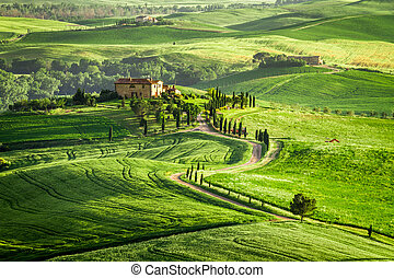 Farmhouse in Tuscany located on a hill