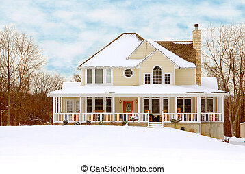 Farmhouse in Winter - Charming two story farmhouse in the ...