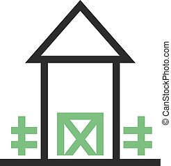 Farmhouse - Landscape, farmhouse, green icon vector image. ...