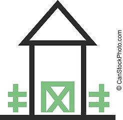 Farmhouse - Landscape, farmhouse, green icon vector...