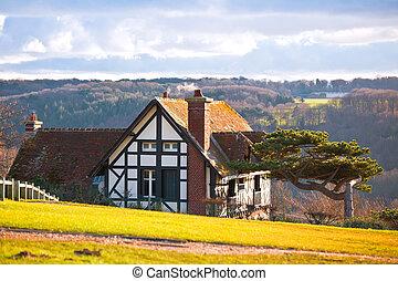 farmhouse on a hill