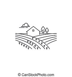 Farmhouse on the field line icon. Outline illustration of...