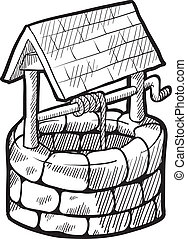 Doodle style retro farmhouse water well illustration in vector format suitable for web, print, or advertising use.