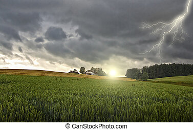 farmhouse with thunderstorm and sun - farmhouse with a...
