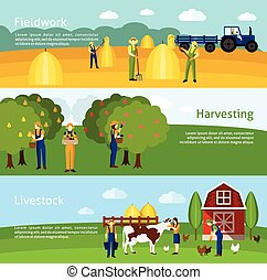 Farming 3 flat horizontal banners set - Hay harvesting ...