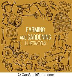 Farming agricultural instruments - Set of farming equipment...