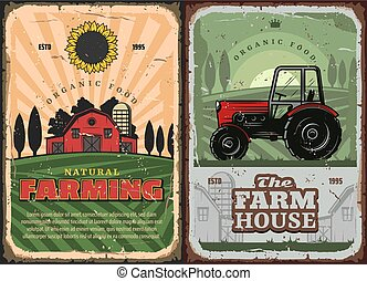 Farming agriculture and farm house retro poster