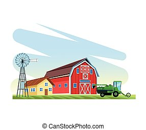 farming agriculture truck house barn windmill